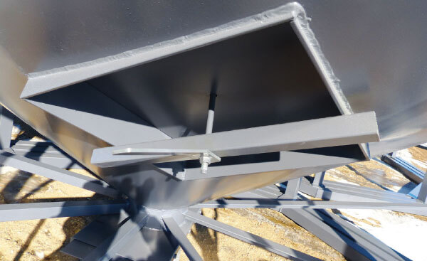 hopper cone inspection hatch with secure latch
