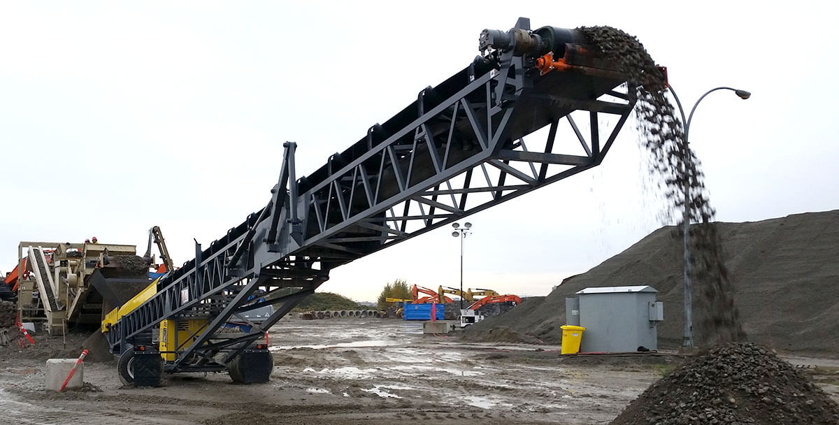 portable mining quarry belt conveyor for gravel