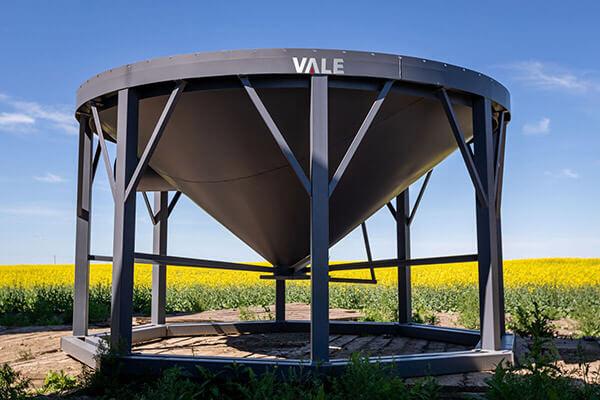 Vale hopper cone in field for farm storage