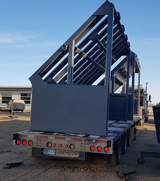 portable hopper loaded on trailer